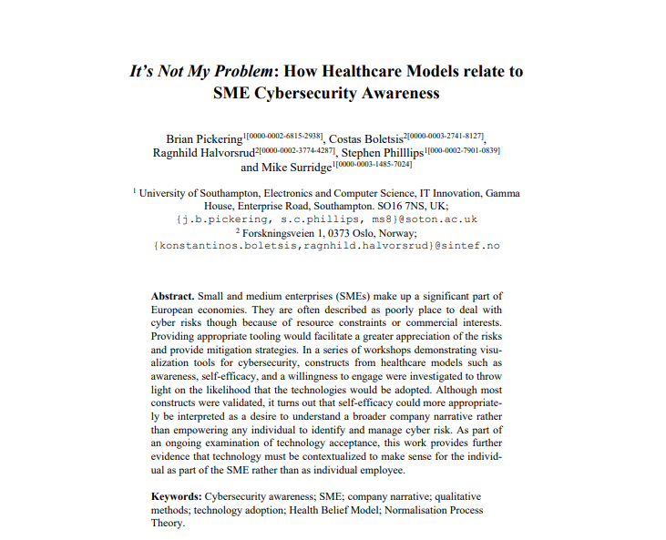 It's Not My Problem: How Healthcare Models relate to SME Cybersecurity Awareness snippet